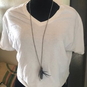 Super long feather stone beaded pendant necklace